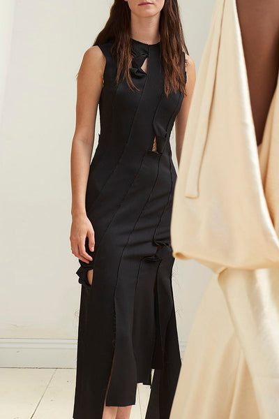 Laura Black Crepe Satin Strip Knotted Dress
