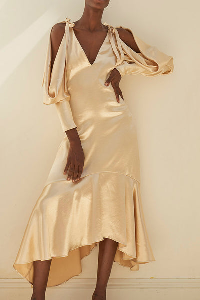 Camille Champagne Crepe Satin Open Shoulder Dress