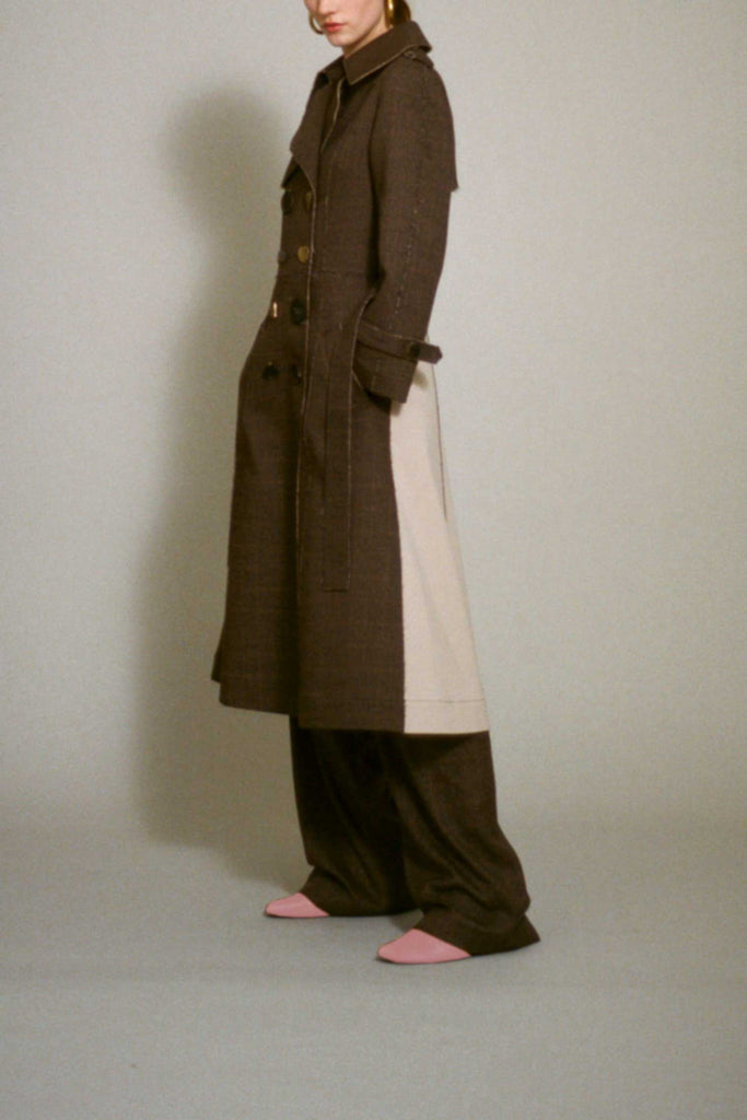 Brown Wool Check Kirsten Trench Coat