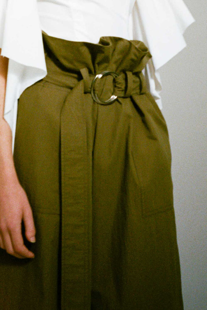 Tilly Khaki Belt Detail Wide Trousers