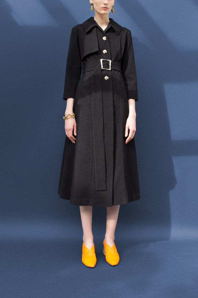 Belle Black Seersucker Crepe Fitted Coat