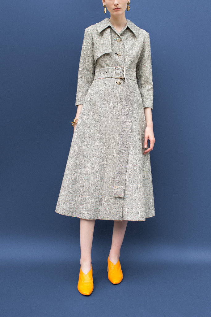 Belle Dark Boucle Fitted Coat