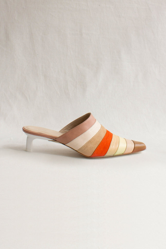 PRE-ORDER / Angela Leather Suede Orange Multi Mule