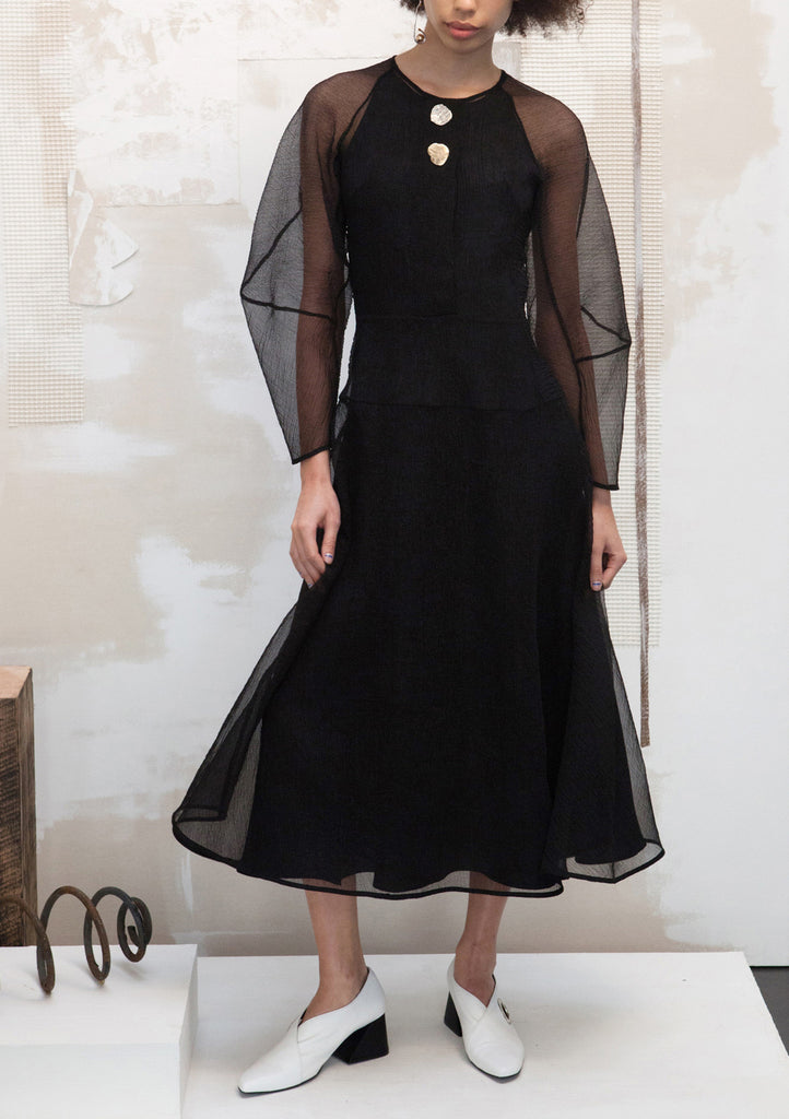 Black Organza Elliot Button Front Dress