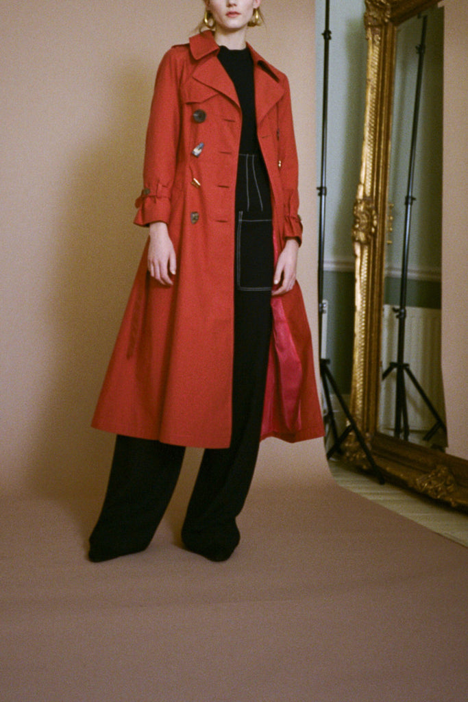 Kirsten Rust Cotton Trench Coat