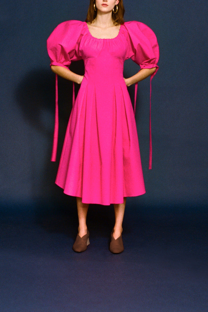 Greta Magenta Light Tech Open-Neck Dress