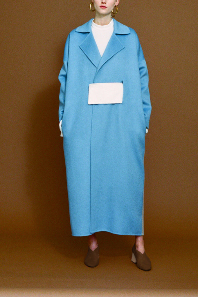 Kate Oversized Sky Blue Coat with Belt