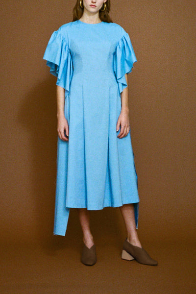 Grace Chambray Long Strip Sleeve Dress
