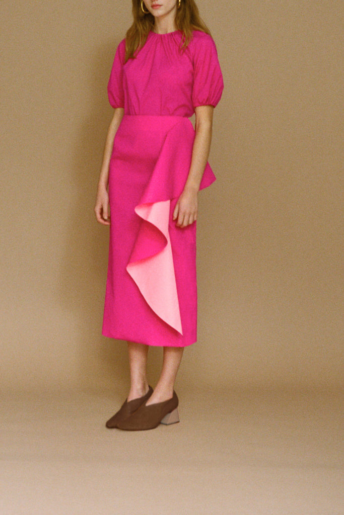 Maude Magenta Frill Panel Skirt