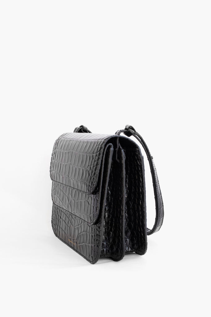 Black Ana Double Flap Bag
