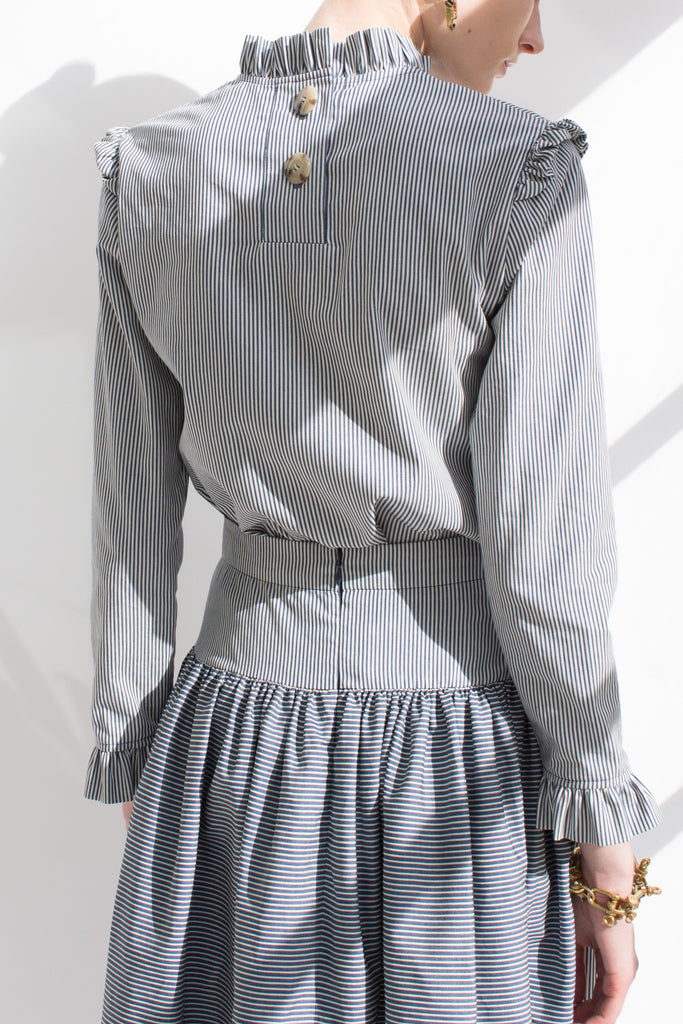 Noelle Stripe Cotton Ruffle Collar Blouse