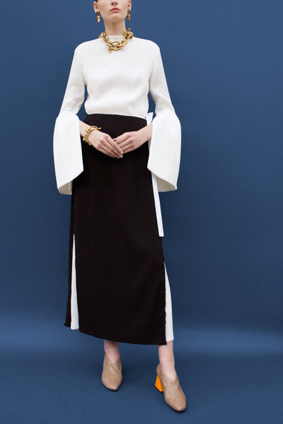 Zoe Black and White Long Wrap Skirt
