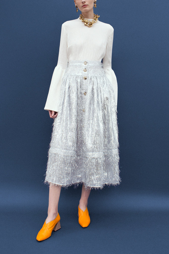 Freya Silver Gathered Buttoned Skirt