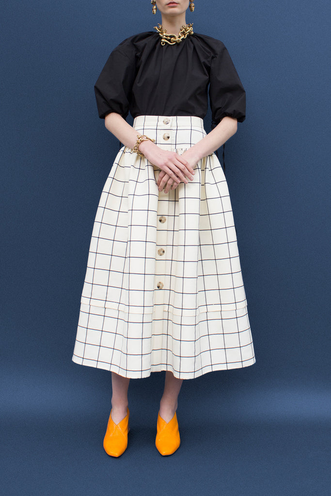 Freya Check Gathered Buttoned Skirt