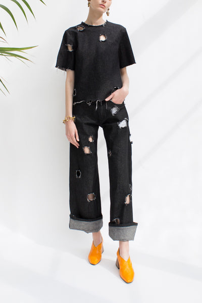Mia Black Denim Straight Jeans