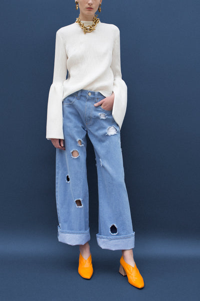 Mia Blue Denim Straight Jeans