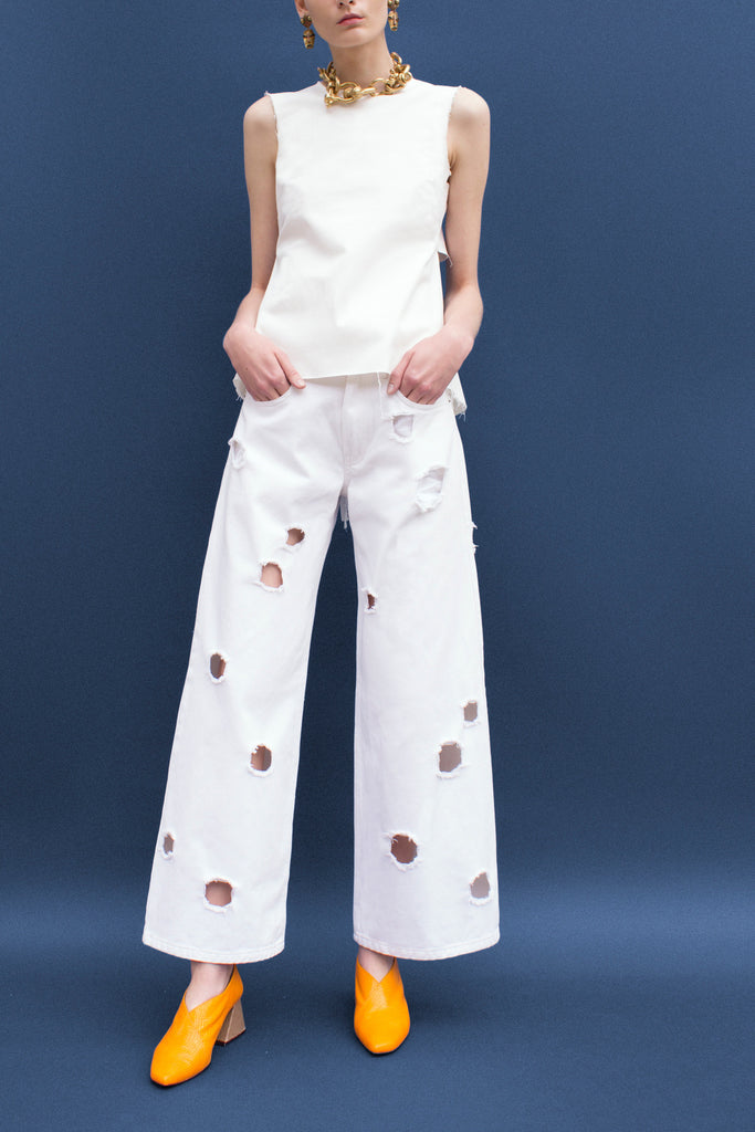Mia White Denim Straight Jeans