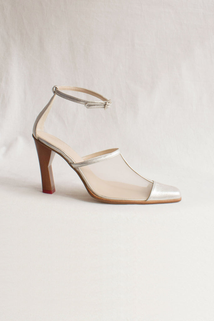 PRE-ORDER / Estelle Leather Sliver Mesh Heel