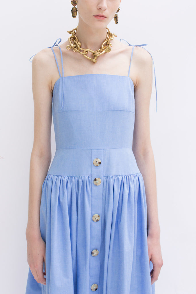 Issy Chambray Blue Strap Dress