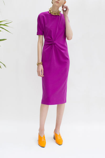 Lois Purple Knot Draped Dress