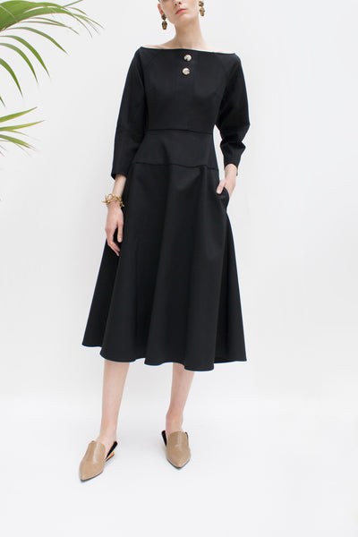 Mina Black Boat Neck Dress