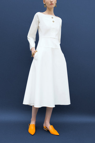 Mina White Boat Neck Dress