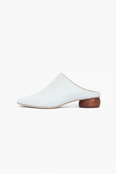 Gaby Ivory Leather Mule with Honey Pebble Heel
