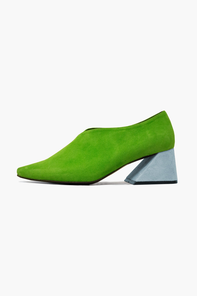 Green Suede Upper with Light Blue Heel