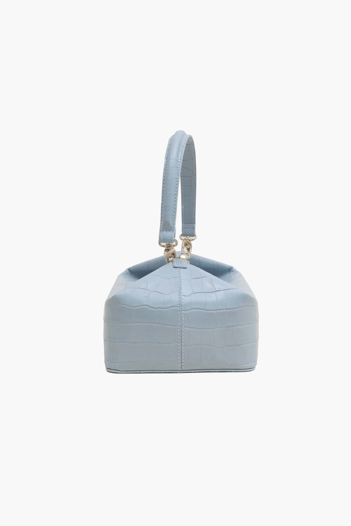 Olivia Duck Egg Blue Leather Croc Box Bag