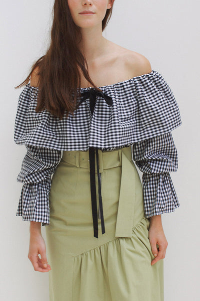 Clara Black & White Gingham Off-Shoulder Blouse