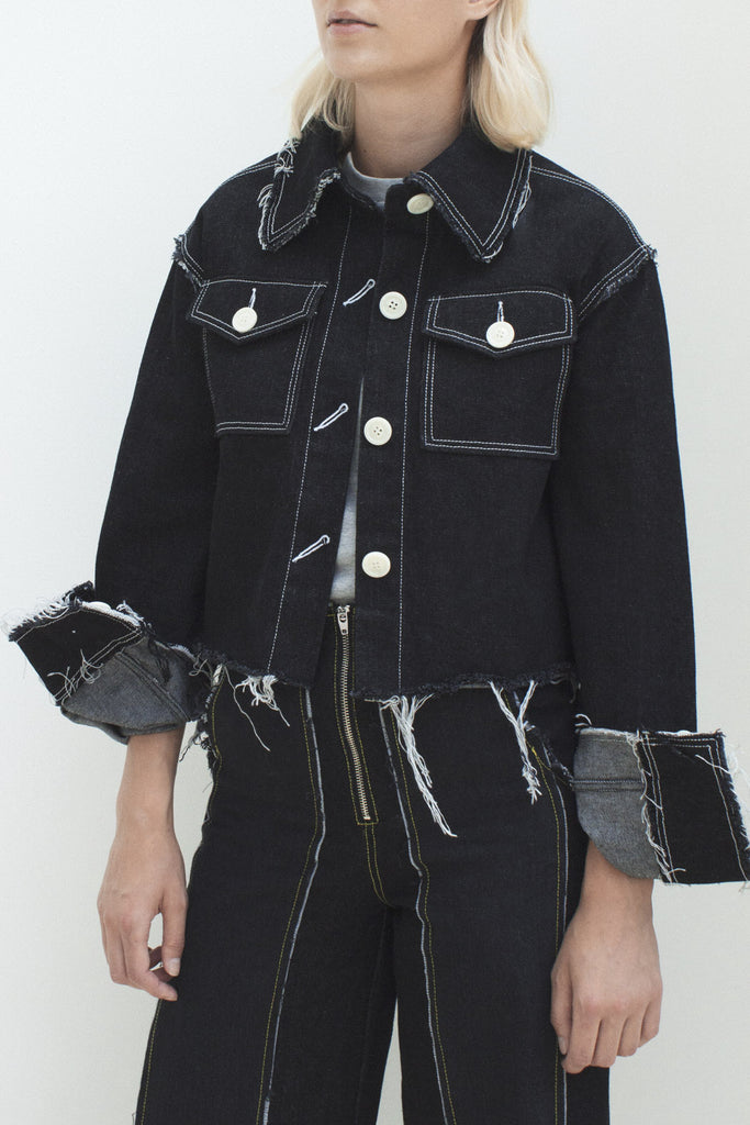 Tessa Black Denim Raw Edged Jacket