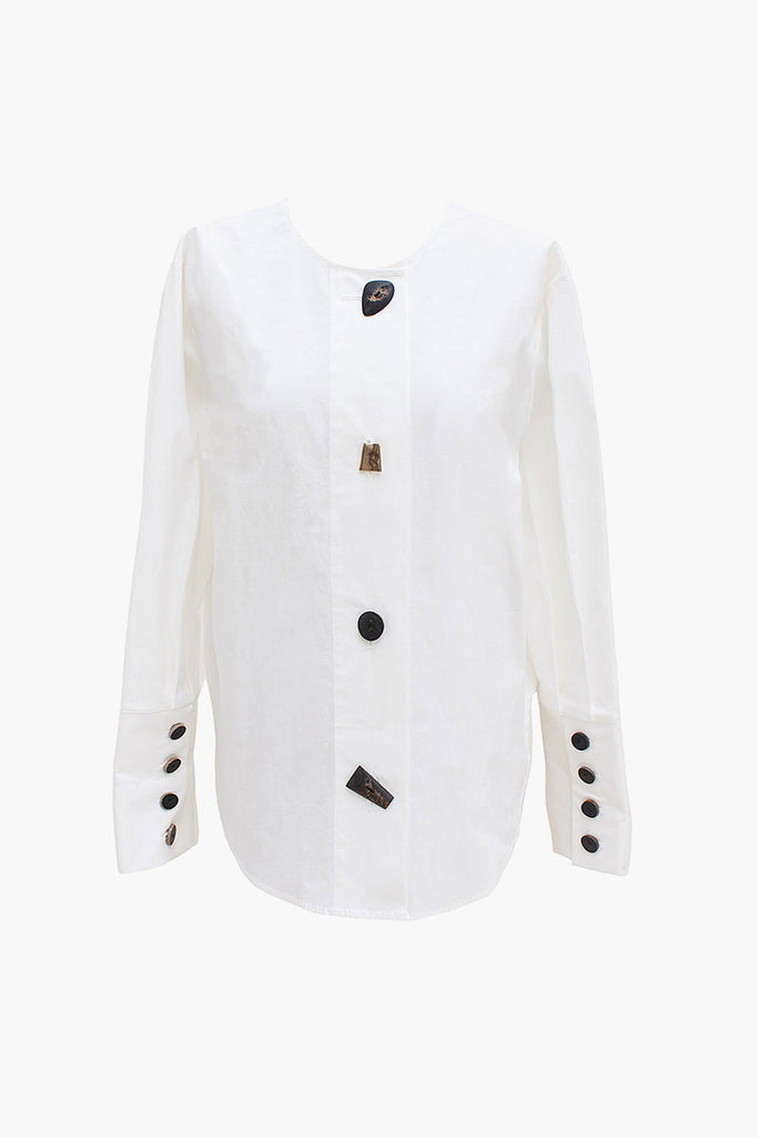 Nina Off-White Reversible Drawstring Detail Shirt
