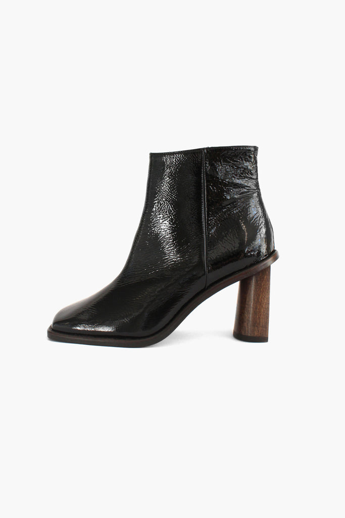 Alana Black Patent Creased Leather Boot with Crescent Heel
