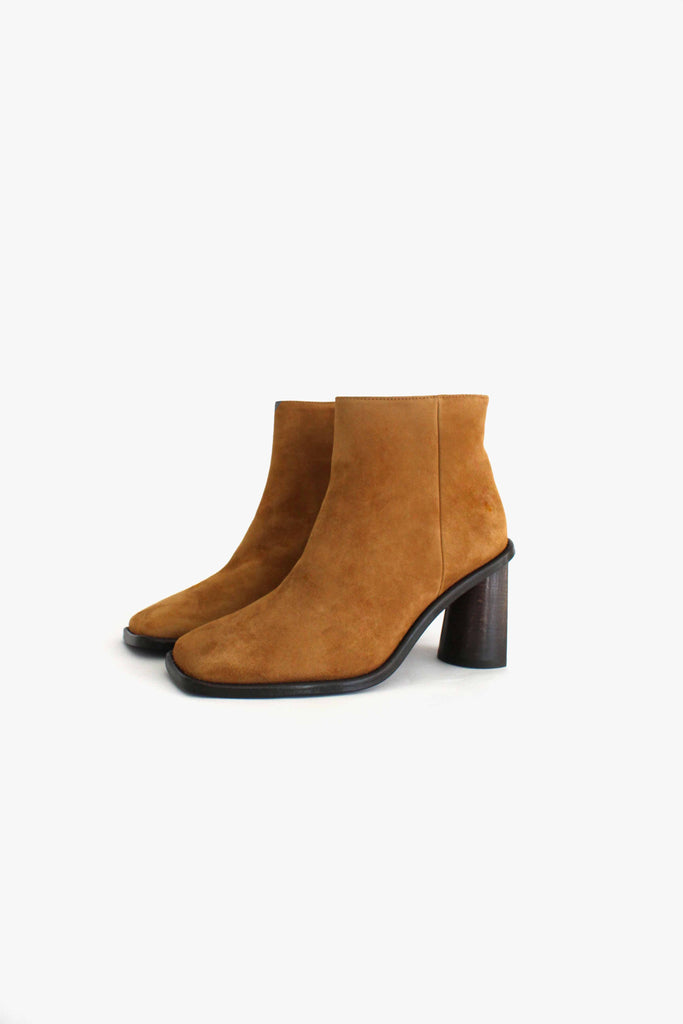Alana Chestnut Suede Boot with Crescent Heel