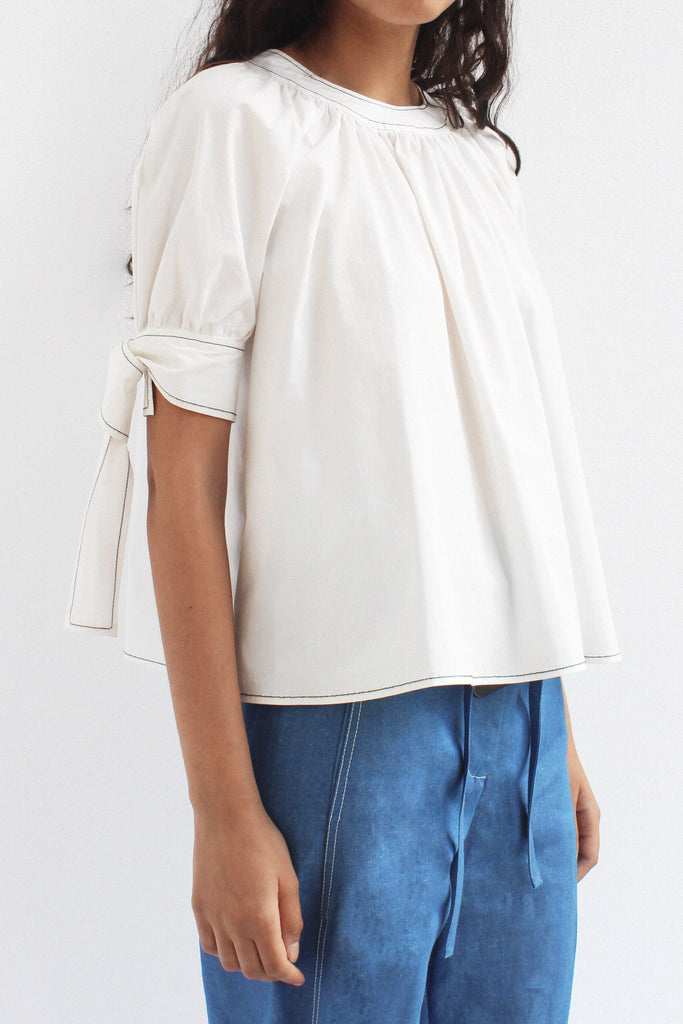 Hailey Cotton White Puff Sleeve Blouse