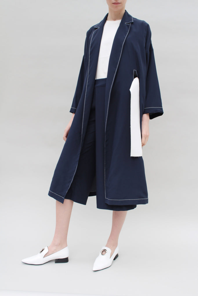 Ella Silk Navy Trench