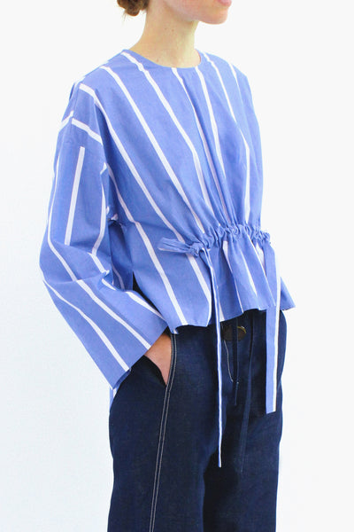 Brooke Cotton Stripe Blue Drawstring Blouse
