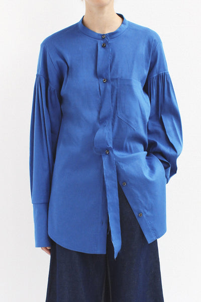 Annette Linen Blue Separate Placket Shirt