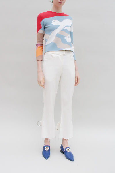 Amy Flared Ivory Trousers