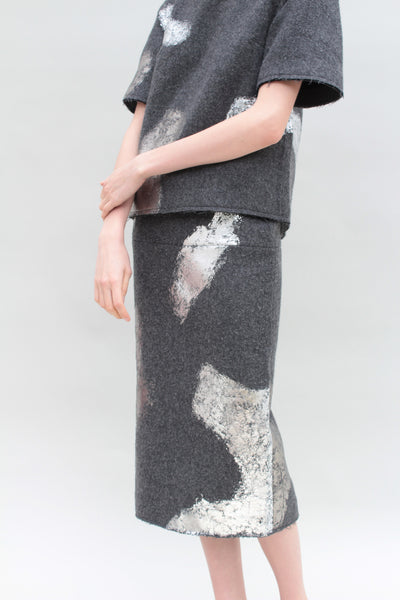 Silver Foiled Grey Woollen Skirt