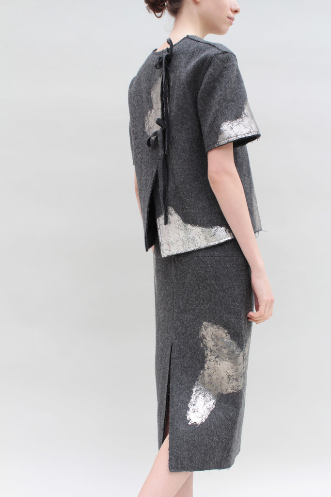 Silver Foiled Grey Woollen Top