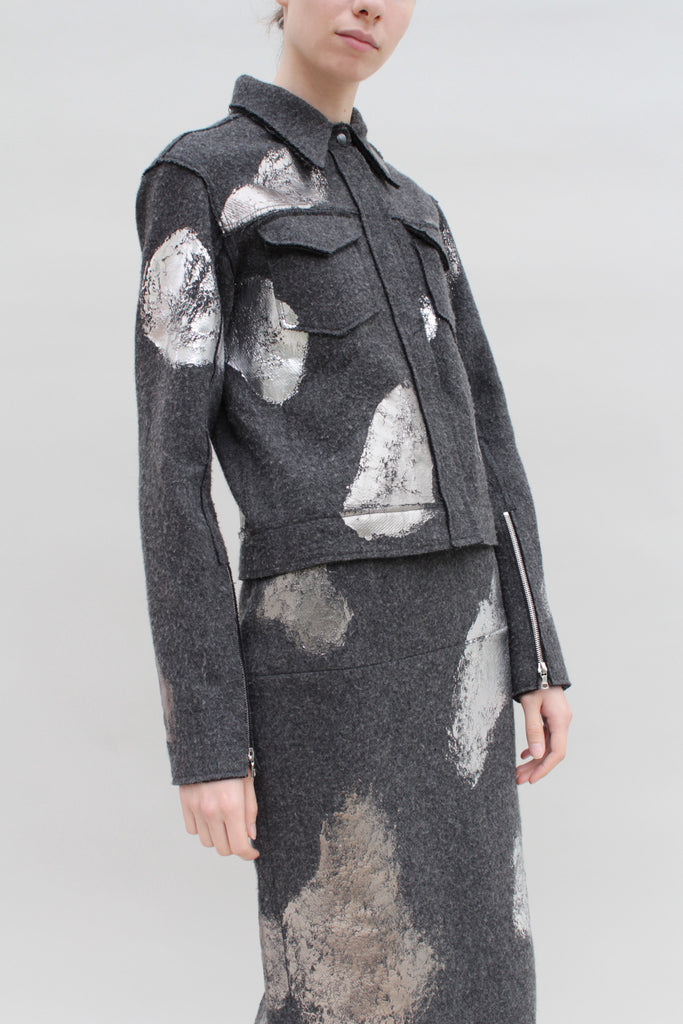 Silver Foiled Grey Woollen Jacket