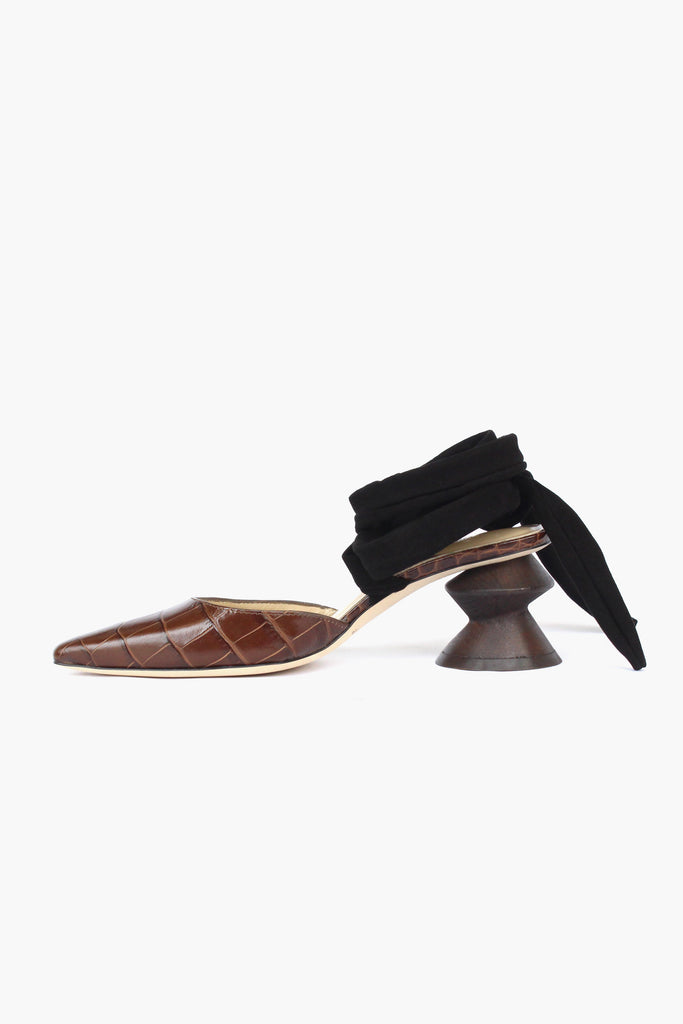 PRE ORDER / Barbara Brown Leather Croc Zig Zag Heel