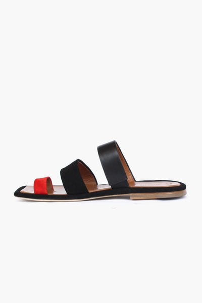 PRE ORDER / Larissa Red Suede + Black Leather Three Strap Sandal