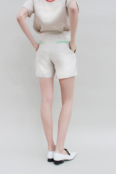 Silver Stone Pleated Shorts