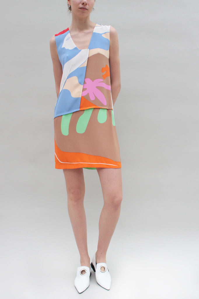 Beach Scene Silk Dress