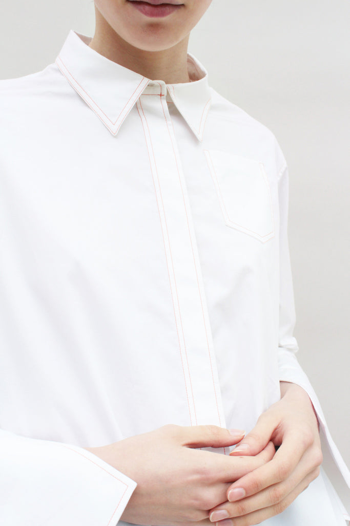White Shirt With Removable Pleats