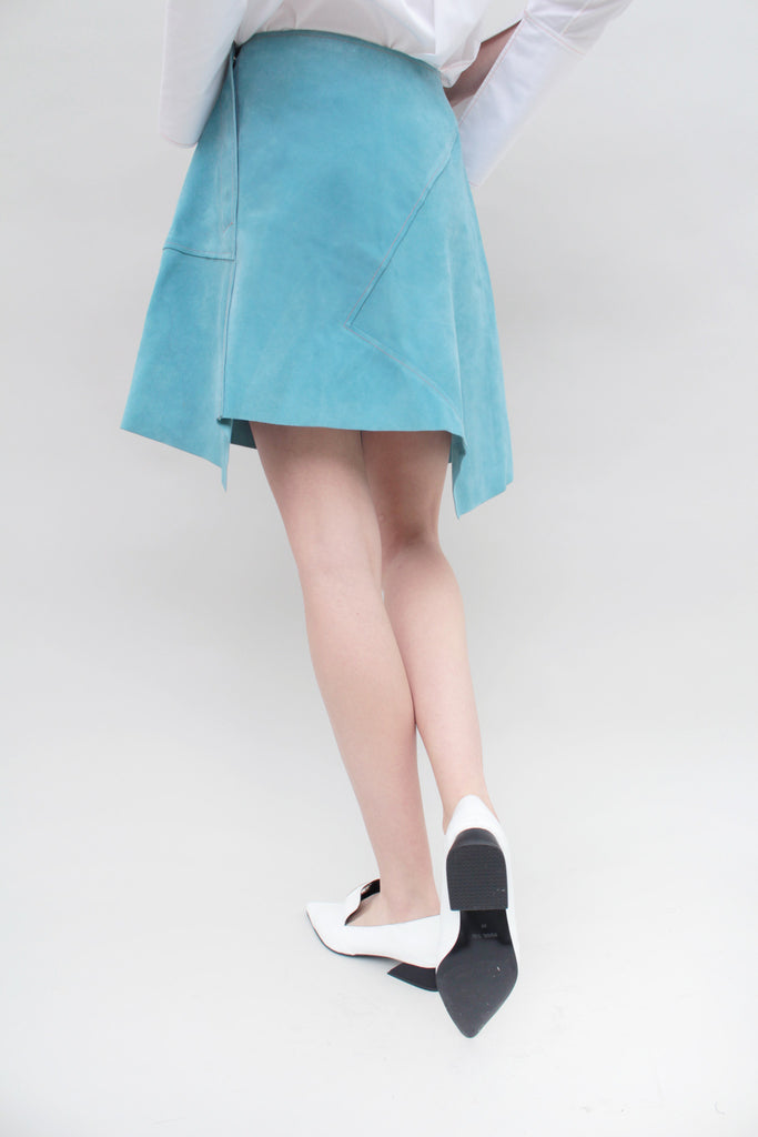 Aqua Suede Mini Asymmetric Skirt