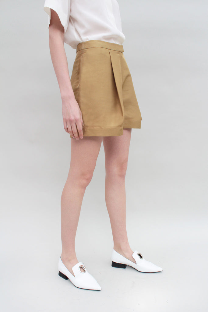 Light Tan Silk Pleated Shorts