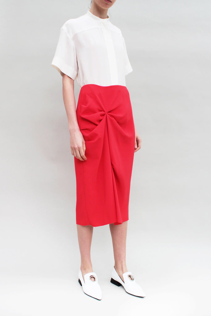 Scarlet Red Crepe Knotted Skirt